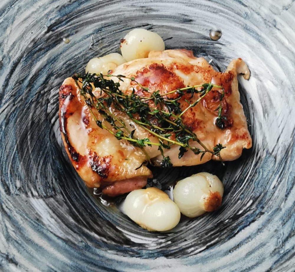 Pollo in agrodolce, sciroppo d'acero e aceto di lamponi