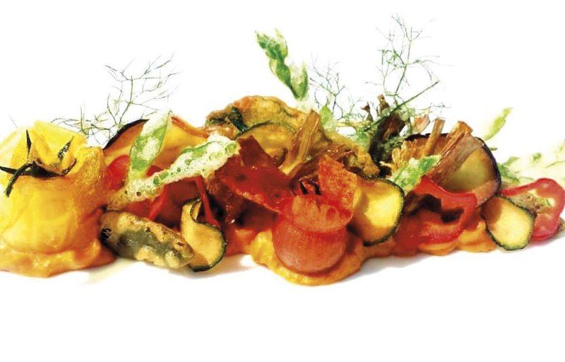 Oro di Sicilia dello chef Maurizio Urso, una ricetta a base di maionese e verdure in tempura