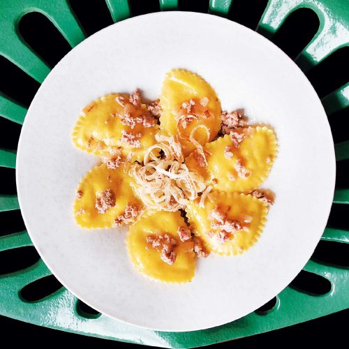 raviolotti con polenta e Montasio DOP